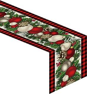 Jiudungs Linen Red and Black Buffalo Check Christmas Table Runner 72 Inches Long Seasonal Winter Christmas Xmas Holiday Fa...