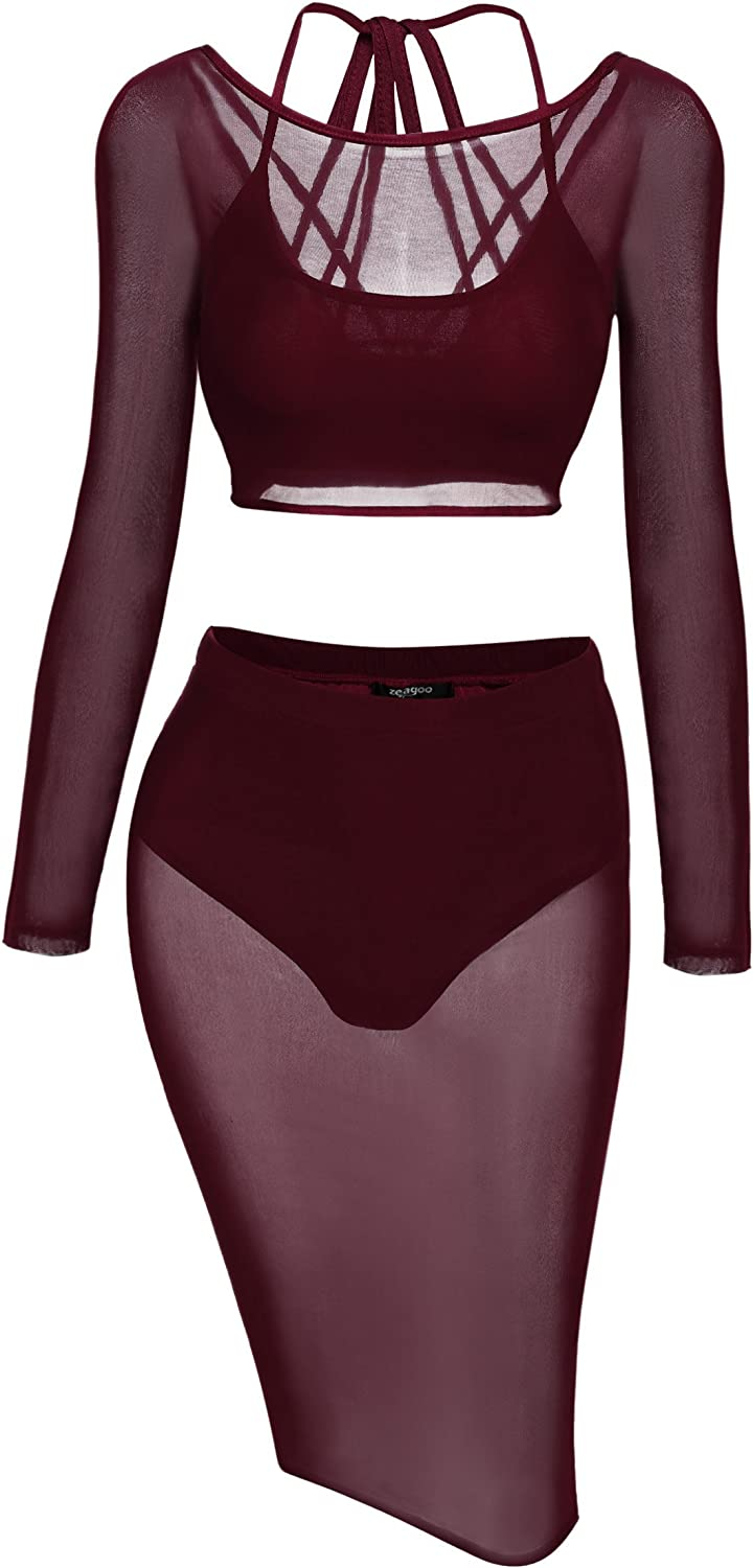 Zeagoo Women's See Through Sheer Mesh Crop Top Skirt Sexy Summer Outfits Clubwear,Small,Wine Red