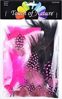 Touch of Nature 38981 Packed Feather Assortment for Arts and Crafts, 7gm, Black/White/Hot Pink