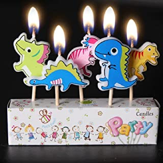 Yeahii 5Pcs Cartoon Candles, Happy Birthday Cake Topper Cute Decoration Party Supply (Dinosaur)