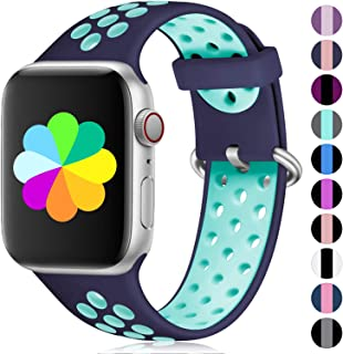 Haveda Compatible for Apple Watch Band Series 5 44mm 40mm Series 4, Breathable iWatch Bands 38mm 42mm Womens, Silicone Apple Watch 4 Sport Band Men Kid Wristband for iwatch Series 3/2/1 Small Large