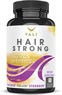 Hair Health Growth Vitamins with Biotin & Keratin - 60 Veggie Capsules. Extra Strength Supplement for Longer Stronger Hair...