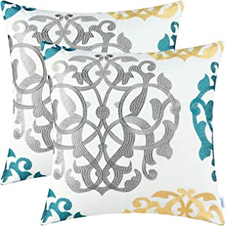 Best CaliTime Pack of 2 Cotton Throw Pillow Cases Covers for Bed Couch Sofa Vintage Compass Geometric Floral Embroidered 18 X 18 Inches Medium Grey/Teal/Gold Review
