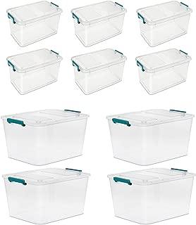 Sterilite 24 Qt./22.7 L Modular Latch Box Clear Case of 4  Bundle with Sterilite 51 Qt./48 L Modular Latch Box Case of 6 