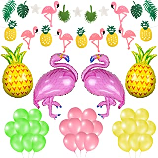 Phogary Summer Party Decoration 36PCS Set - Tropical Party Flamingo Pineapple Palm Leaves Garland Banners and Balloons, Hawaiian Luau Beach Supplies Kit