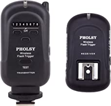 PHOLSY Wireless Flash Trigger Transmitter and Receiver (Range of 650'/ 200m)