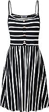 MOQIVGI Womens Spaghetti Strap Button Detail Pleated Summer Casual Stripe Dresses