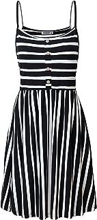Women's Spaghetti Strap Button Detail Pleated Summer Casual Stripe Dresses