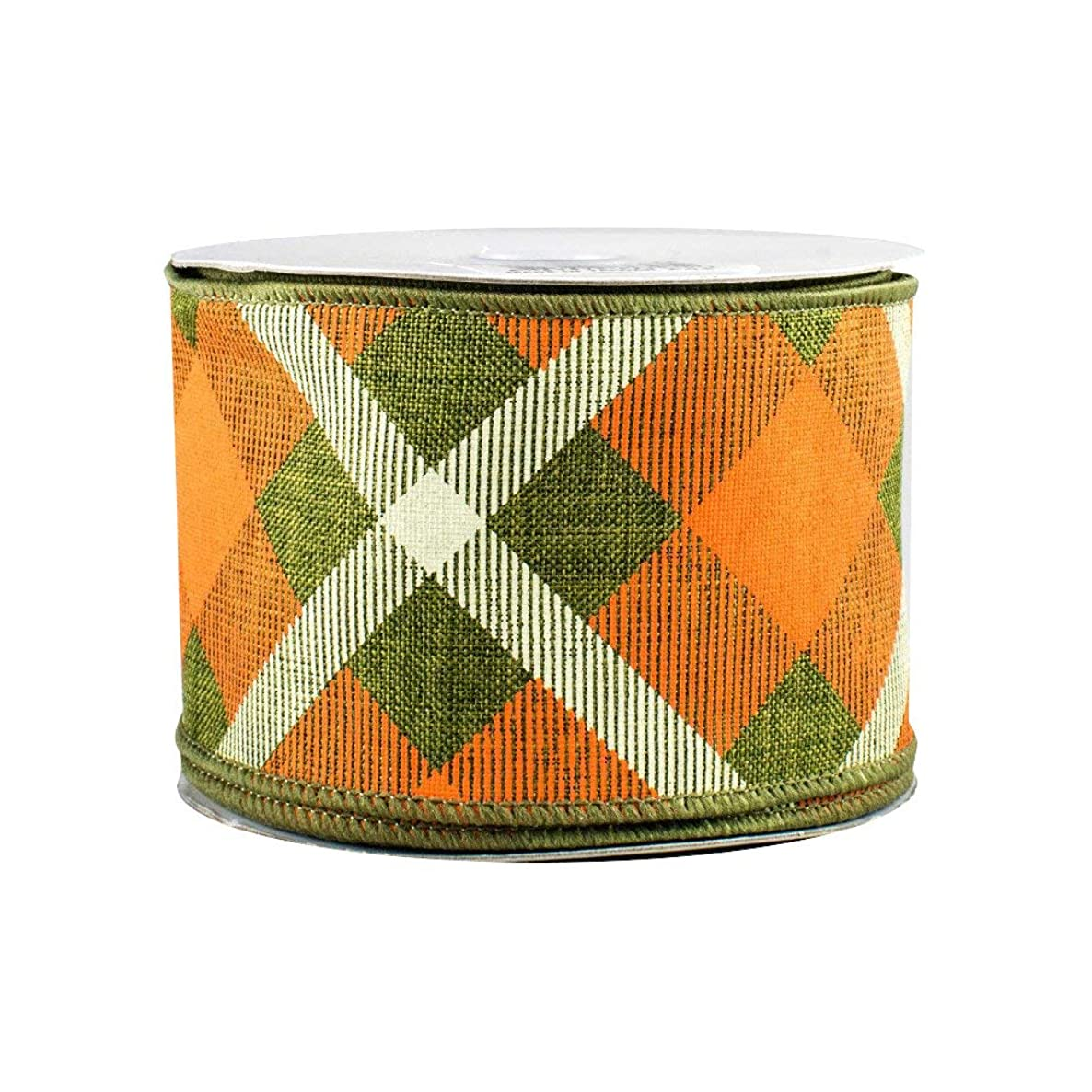 Orange Creamsicle Wired Easter Ribbon - 2 1/2 inch x 10 Yards, Orange, Green and Cream Plaid, Fighting Irish, Christmas Decorations, St. Patrick's Day, Spring Decor, Wreath, Swag, Garland, Irish Flag