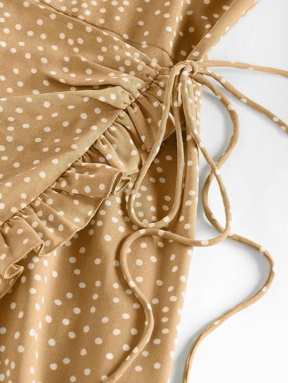 ZAFUL Women Tied Shoulder Spaghetti Strap Floral Cami Mini Casual Dress