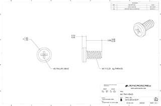 M1 - 0.25 X 2mm Machine Screw Stainless Steel Pan Head Phillips Drive (100 Pcs) - M10-20-M-SS-P