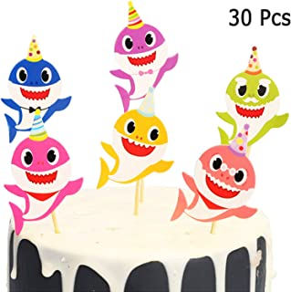 Baby Shark Cupcake Toppers Picks for Kids Baby Shower Birthday Party Cake Decoration Supplies Set of 30