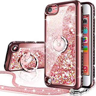 Silverback iPod Touch 7 Case, iPod Touch 6 Case, iPod Touch 5 Case, Girls Women Moving Liquid Holographic Glitter Case with Kickstand,Bling Diamond Case for Apple iPod Touch 6th / 5th 7th Gen -RD