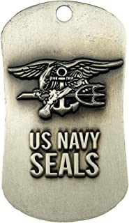 US Navy Seals Antique Finish Dog Tag Necklace-Isaiah 6:8