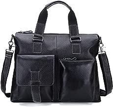 SEALINF Men's Retro Leather Handbag/Shoulder Bag Business Laptop Briefcase (black)