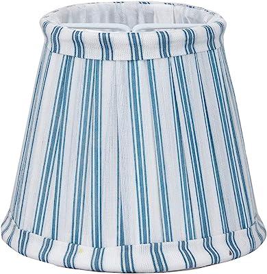 Better & Best 0213121–écran de lampe de soie, avec pince de fixation pour ampoules type bougie, table étroite, de 12cm, avec rayures bleues