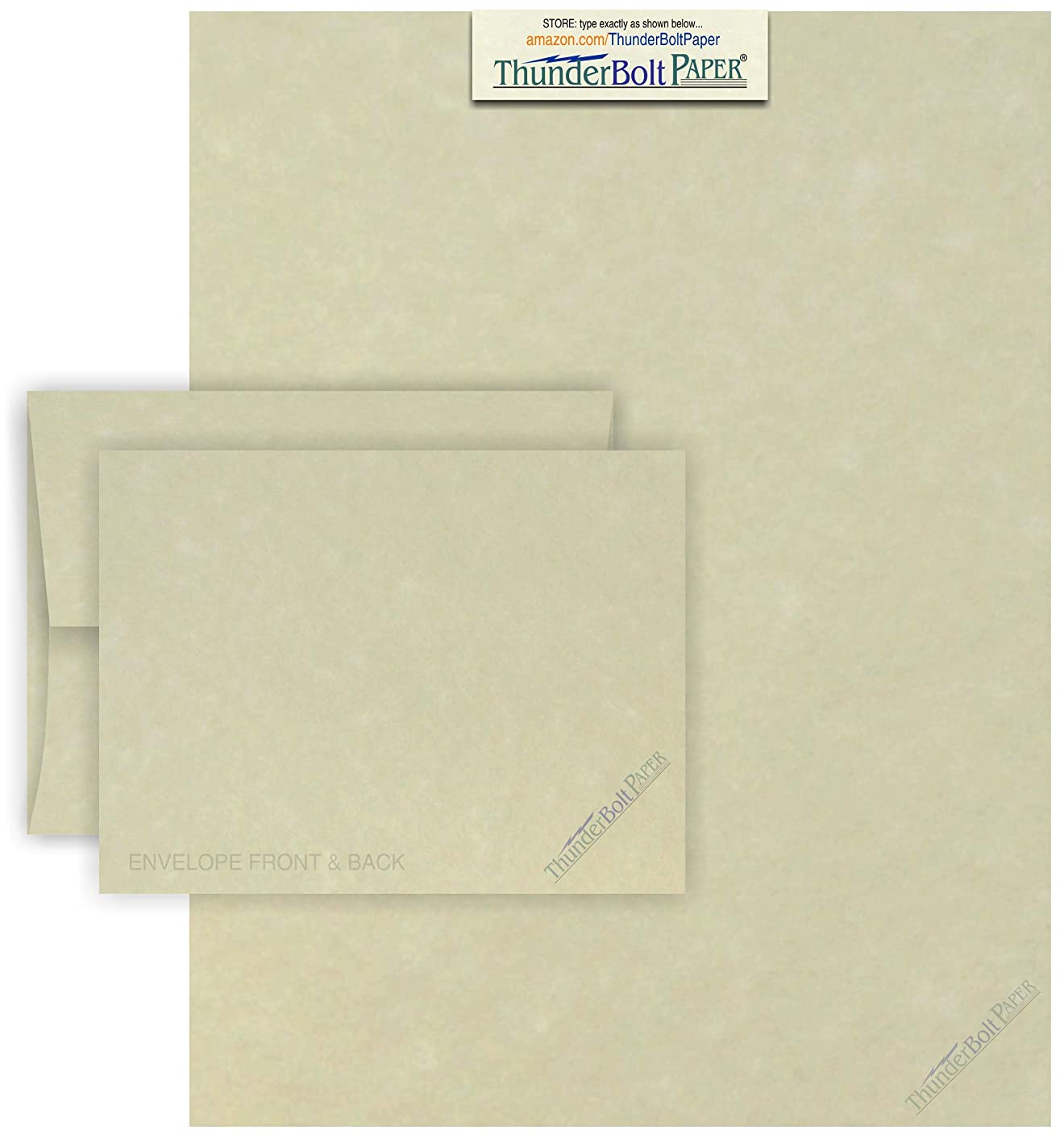 8.5 X 11 Paper Sheets with A-2 Envelopes - Natural Parchment - 25 Sets - Fold Letter Size Text in Fourth to Fit in Envelopes - Matching Pack - Invitations, Greeting, Thank You, Notes, Holidays