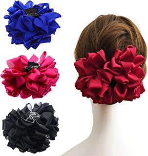 PIDOUDOU 4 Pcs Large Silk Flower Bow Hair Claw Jaw Clips for Women Hair Clamps