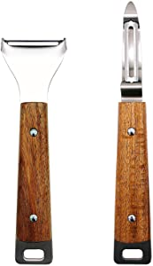 2-Piece Peeler Set For Kitchen, Premium Rotary Vegetable Peeler with Wooden Handle, Y-Shaped and I-Shaped Peelers for Potato, Carrot, Apple, All Fruit & Veggie