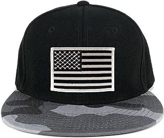 USA American Flag Embroidered Patch Urban Camo Flat Bill Snapback Cap - URB