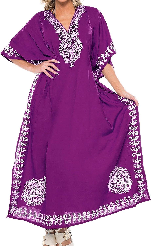 LA LEELA Women's Kaftan Beach Cover Up Night Casual Evening Dress Embroidery