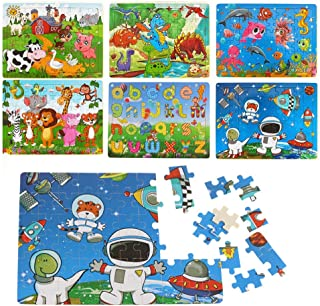 Wooden Puzzles for Kids Ages 3-8 Toddlers Toys for 6 Year Old Girls Boys,Dinosaur Jigsaw Puzzle, 6 Pack 360 Piece