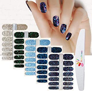 BornBeauty 5pcs Nail Wraps Blue Black Polish Decals with 1Pcs Nail File Adhesive Shine..