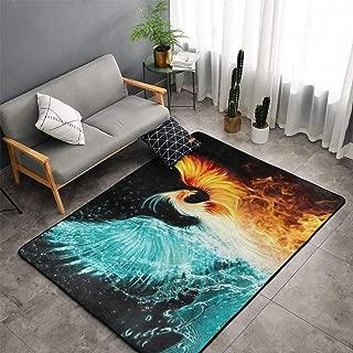 Ice Water Fire Flame Phoenix Bird Art Area Rug Carpets Non-Slip Doormat Living Room Bedroom Floor Mat Home Decor (150X100CM)