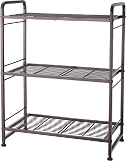 Simple Trending 3-Tier Stackable Wire Shelving Unit Storage Rack, Expandable & Adjustable Kitchen Storage Cabinet Shelf Organizer, Bronze
