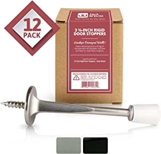 Jack N'Drill (3 ⅛) Rigid Door Stop (12 Pack) - Rustproof Satin Nickel Solid Door Stopper w/Durable Rubber Tips | Protects Walls & Doors from Damage | Great for Office & Home