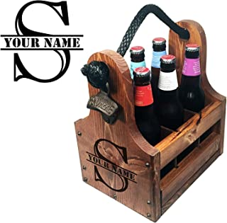 Wooden Bottle Caddy - Handcrafted solid wood 6 pack beer carrier with rustic cast iron bottle opener and magnetic cap catch. Personalized Gift perfect for Christmas, Birthdays New Years and more
