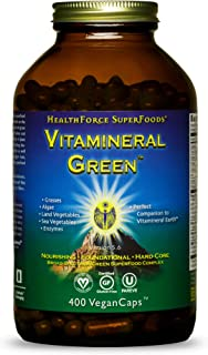 HealthForce SuperFoods Vitamineral Green - 400 VeganCaps - All Natural Green Superfood Complex with Vitamins, Minerals, Am...