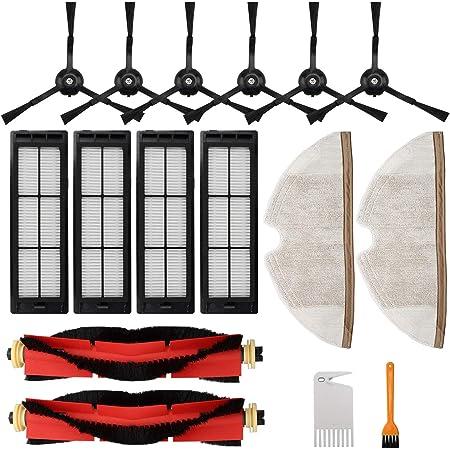 RONGJU Kit de accesorios para aspiradora Roborock S5 MAX S6 S50 E20 E25 E35 Xiaomi Mi Mijia Robótica, piezas de repuesto de 6 cepillos laterales, 4 filtros HEPA, 2 cepillos principales y 2 paños de fregona