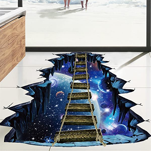 3D Creative Universe Planet Suspension Bridge Beyonds Creative 3D Space Wall Decals Removable PVC Wall Stickers Murals Wallpaper Art Decor For Home Walls Ceiling Boys Room Kids Bedroom Nursery School