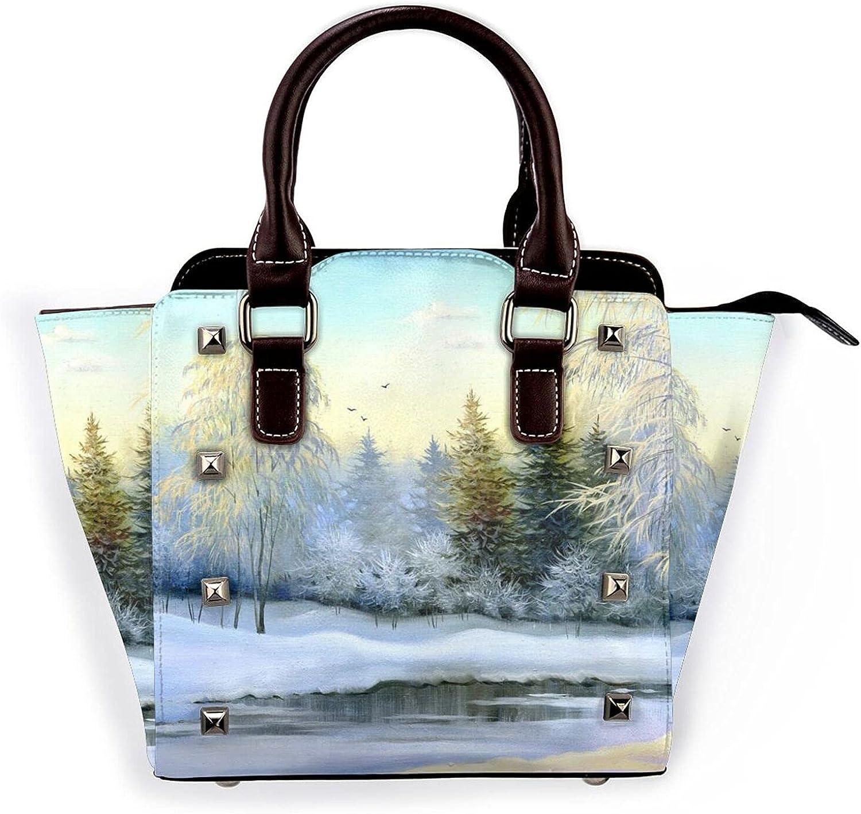 Manufacturer OFFicial shop Ladies Leather Rivet Shoulder Bargain Multi Bag Beautiful Winterhandbag