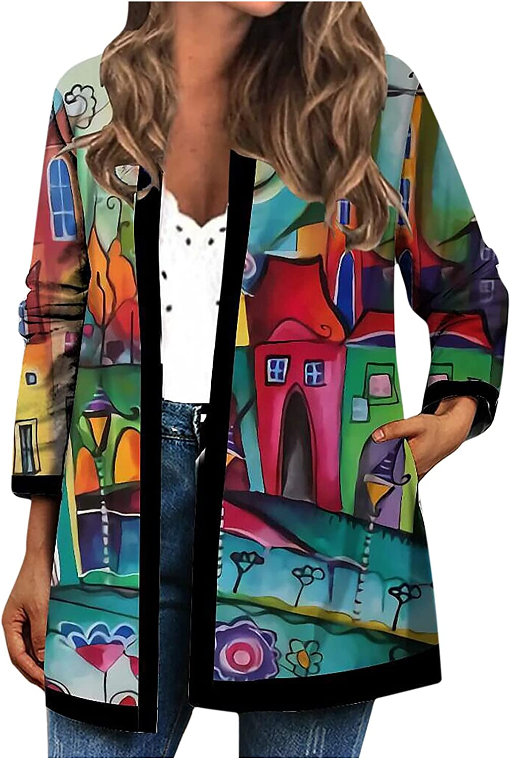 Women Pattern 5 ☆ popular Patchwork Cardigans None Collar Long Sleeve Courier shipping free shipping Cardi