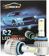 VoRock8 R2 COB H11 H8 H9 H16 8000 Lumens Led Headlight Conversion Kit, Low Beam Headlamp, Fog Driving Light, Halogen Head Light Replacement, 6500K Xenon White, 1 Pair