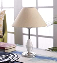 Improvhome Khadi Conical Shade and Beautiful Stainless Steel Base for Bedroom and Drawing Room, Table Lamp (Size: 35 x 26 x 16 cm)