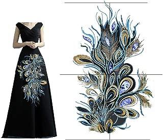 Elegant Peacock Phoenix Feather Mesh Embroidery Applique Decoration Cloth Patches Cheongsam Garment Accessories