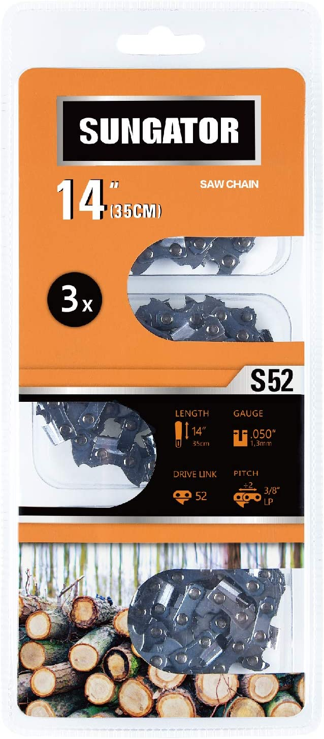 """SUNGATOR 3-Pack 14"""" chainsaw chain SG-S52, 3/8"""" LP pitch - .050"""" Gauge - 52 drive links"""