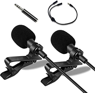 Dual Lavalier Microphone for Android Youtube Microphone for iPhone Microphone Phone Video Recording/Computer/Camera/iPad, ...