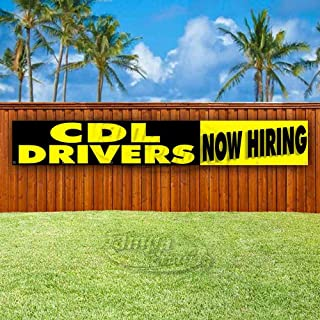 CDL Drivers Now Hiring Extra Large 13 oz Heavy Duty Vinyl Banner Sign with Metal Grommets, New, Store, Advertising, Flag, (Many Sizes Available)
