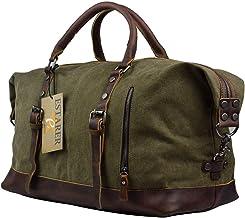 Estarer Weekender Tasche Handgepäck Reisetsache aus Canvas Segeltuch Vintage 50 Liter Updated -Armee Grün