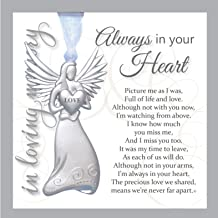 Always in Your Heart Sympathy Sentiment - Memorial/Remembrance/ Bereavement Gift (Metal Angel)