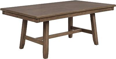 Benjara Rectangular Wooden Dining Table with Block Leg Support, Brown