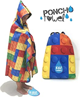 KiDZ FuNWeL Microfiber Hooded Towel for Kids. Poncho Quick Dry, Super Absorbent, Ultra Compact, Lightweight Thin Towel | Suitable for Camping, Beach, Pool, Sports and Travel (Blocks)