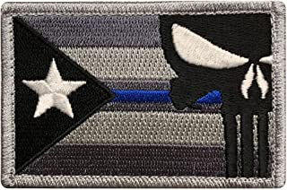 Puerto Rico Flag Punisher Police Thin Blue Hook Fastener Patch (PR10A)