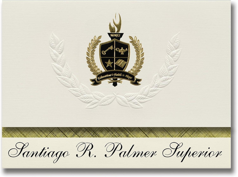 Signature Ankündigungen Santiago R. Palmer Superior (camuy, PR) Graduation Ankündigungen, Presidential Stil, Elite Paket 25 Stück mit Gold & Schwarz Metallic Folie Dichtung B078VCPRWW | Am praktischsten