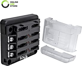 6-Way 100A Modular Fuse Box [Expandable to 12 Power and 12 Ground] [LED Blown Fuse Indicator] [Protective Cover] ATC/ATO Blade Fuse Holder Comes with Labels
