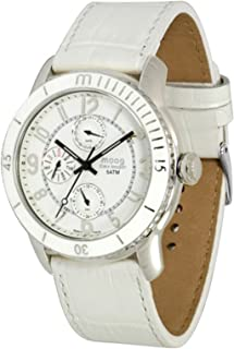 Moog Paris Time Keeper Women's Watch with Black/White Dial, Black/White Strap in Genuine Leather